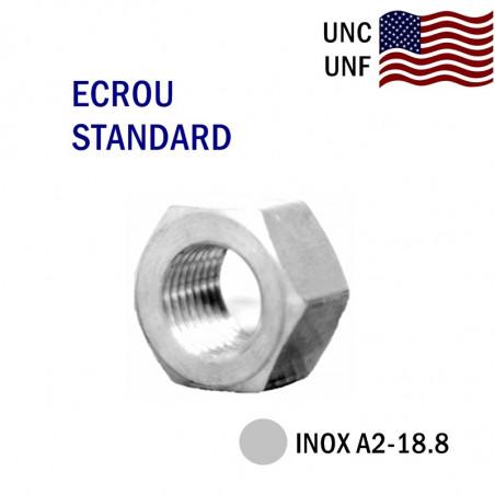 ECROU-PAS-AMERICAIN- COTES POUCES-INOX-UNC-UNF