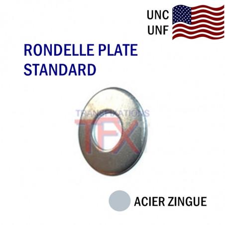 RONDELLE PLATE COTES POUCES ACIER ZINGUE BLANC
